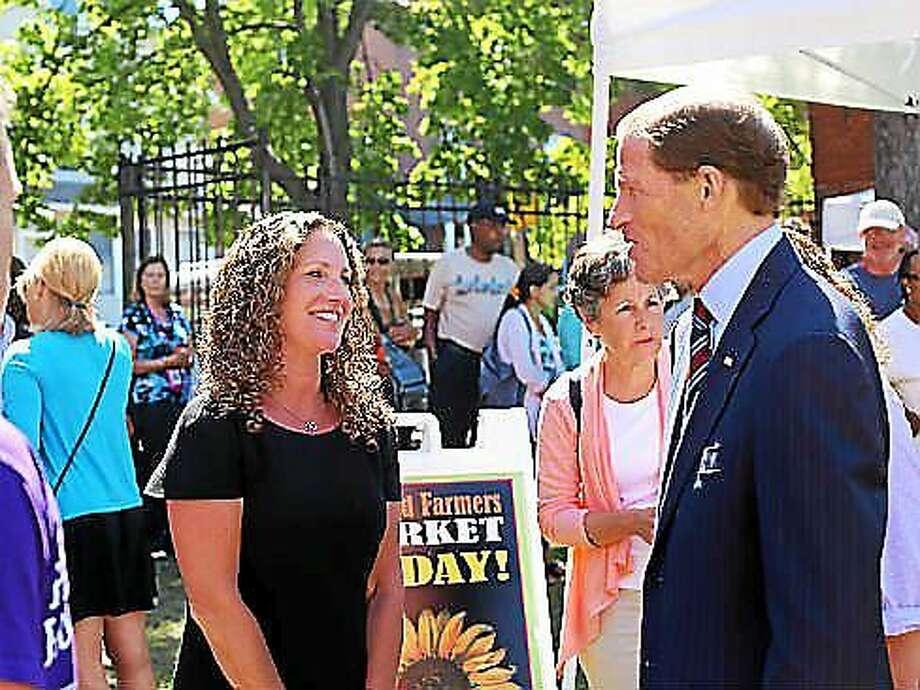 Tara Cook-Littman greets U.S. Sen. Richard Blumenthal, D-Conn., at the farmer's market. Photo: Christine Stuart Photo