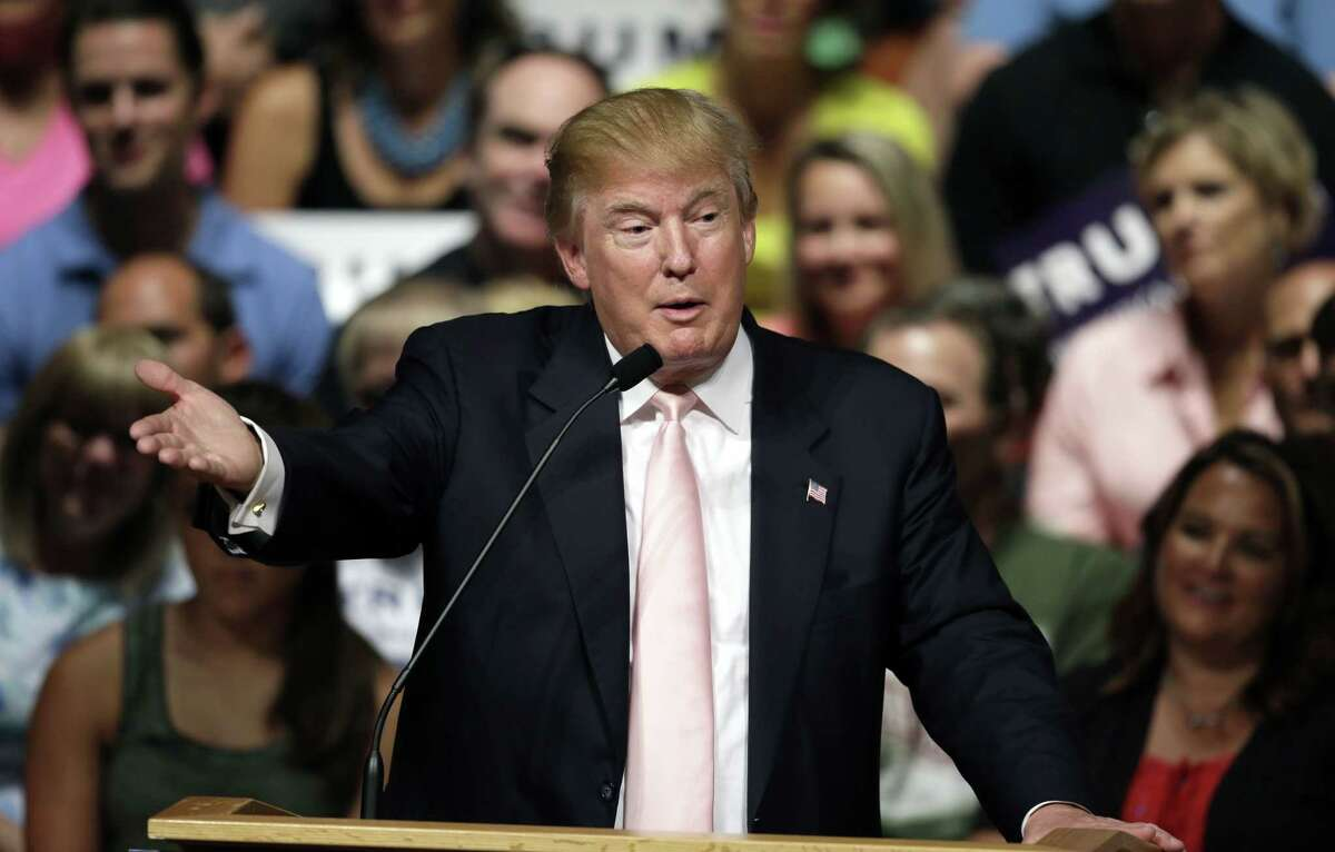 Republican presidential candidate Donald Trump speaks in Oskaloosa, Iowa, July 25.