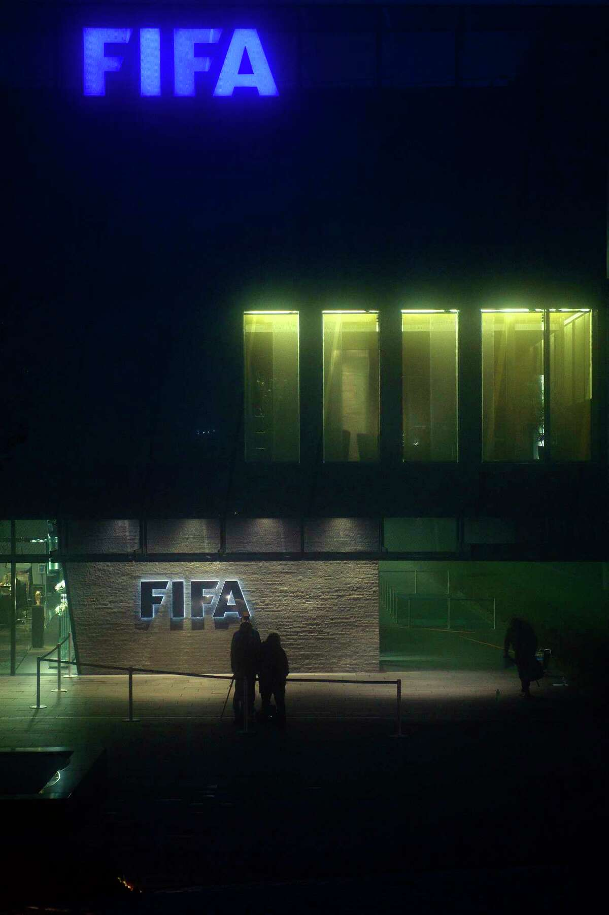 """Exterior view of the FIFA Headquarters """"Home of FIFA"""" in Zurich, Switzerland, taken on Thursday."""