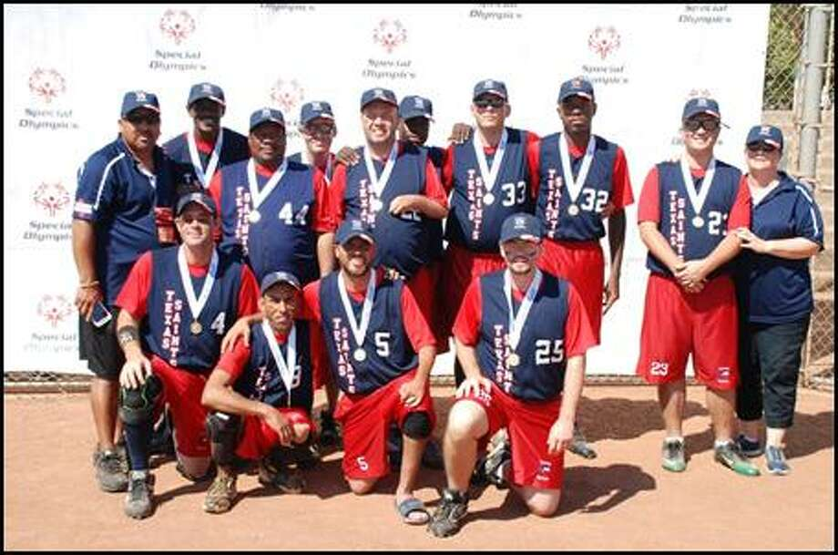 The Pearland Saints will compete at the annual Special Olympics North America (SONA) Softball Championship Aug. 17-20 in in Bismarck, N.D. Team members areGabriel Cantu (Baytown), Wisdom Chenevert, Franklin Cullen (Dickinson), Christopher Ray DeLeon (Houston), Calvin Dixon (Sweeny), John Lakey, Jason Lane (Pearland), Freddie Lee Matthews (Brazoria), Jeffrey Ramsey (Pearland), Victor Resendez (Pearland), Donovan Roesler (Pearland), Joshua Sherwood and Michael Utley (Pearland). Photo: Submitted Photo