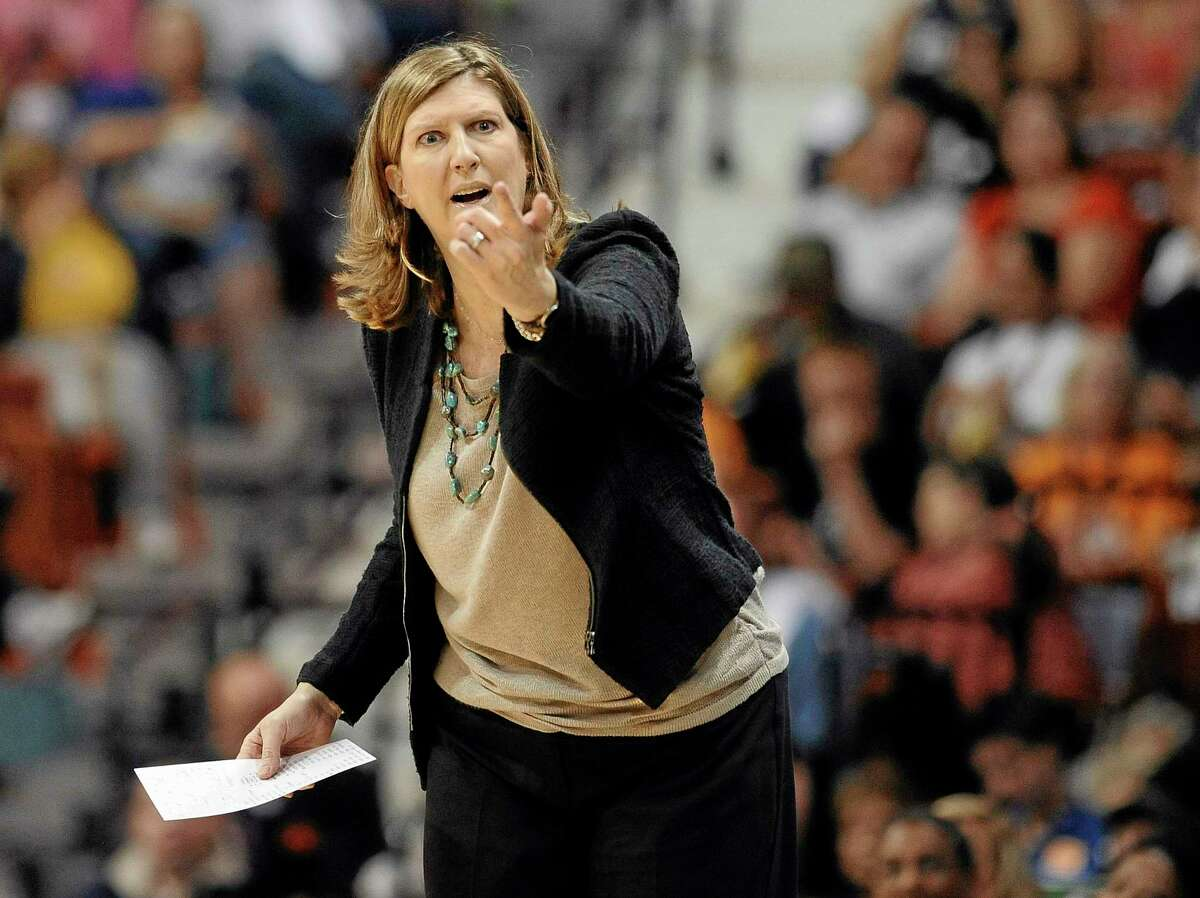 Connecticut Sun head coach Anne Donovan reacts during the first half of Sunday's game against the Atlanta Dream.