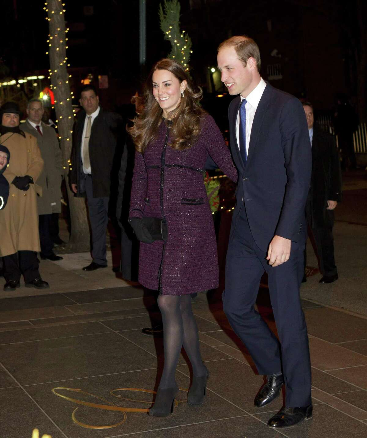 Kate, left, Duchess of Cambridge and Britain's Prince William arrive at The Carlyle hotel on Dec. 7, 2014, in New York.