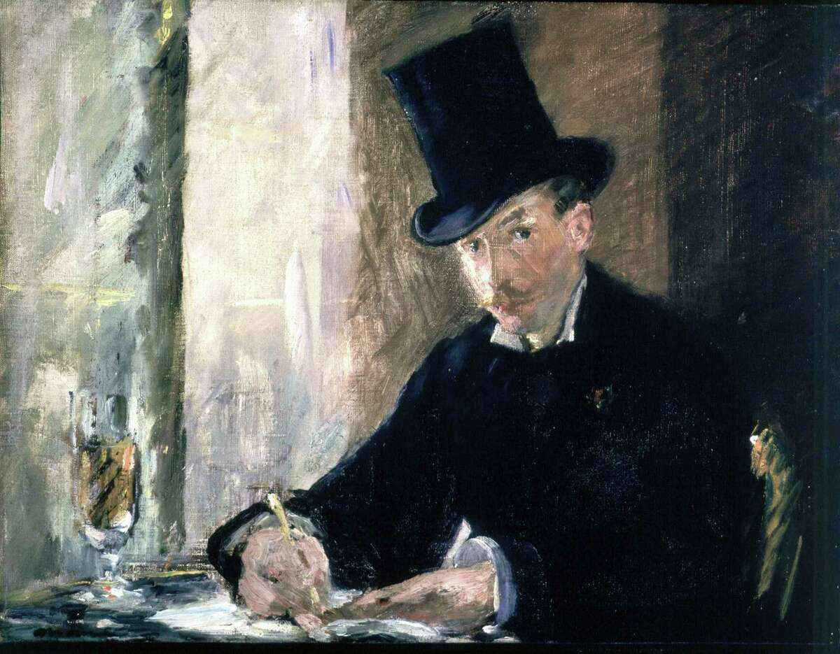 """This undated file photograph provided by the Isabella Stewart Gardner Museum shows the painting """"Chez Tortoni,"""" by Edouard Manet, one of more than a dozen works of art stolen in the early hours of March 18, 1990. On Thursday, Aug. 6, 2015, the U.S. Attorney's Office released a surveillance video showing an automobile outside the rear entrance and an unauthorized visitor entering the museum 24 hours before the robbery."""