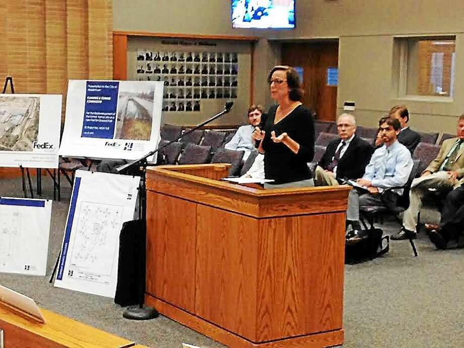 FedEx Ground Attorney Dorian Famiglietti spoke at this week's Middletown Planning and Zoning Commission meeting in support of the company's zoning application. It was approved for the former Aetna headquarters on Industrial Park Road. Photo: Brian Zahn — The Middletown Press