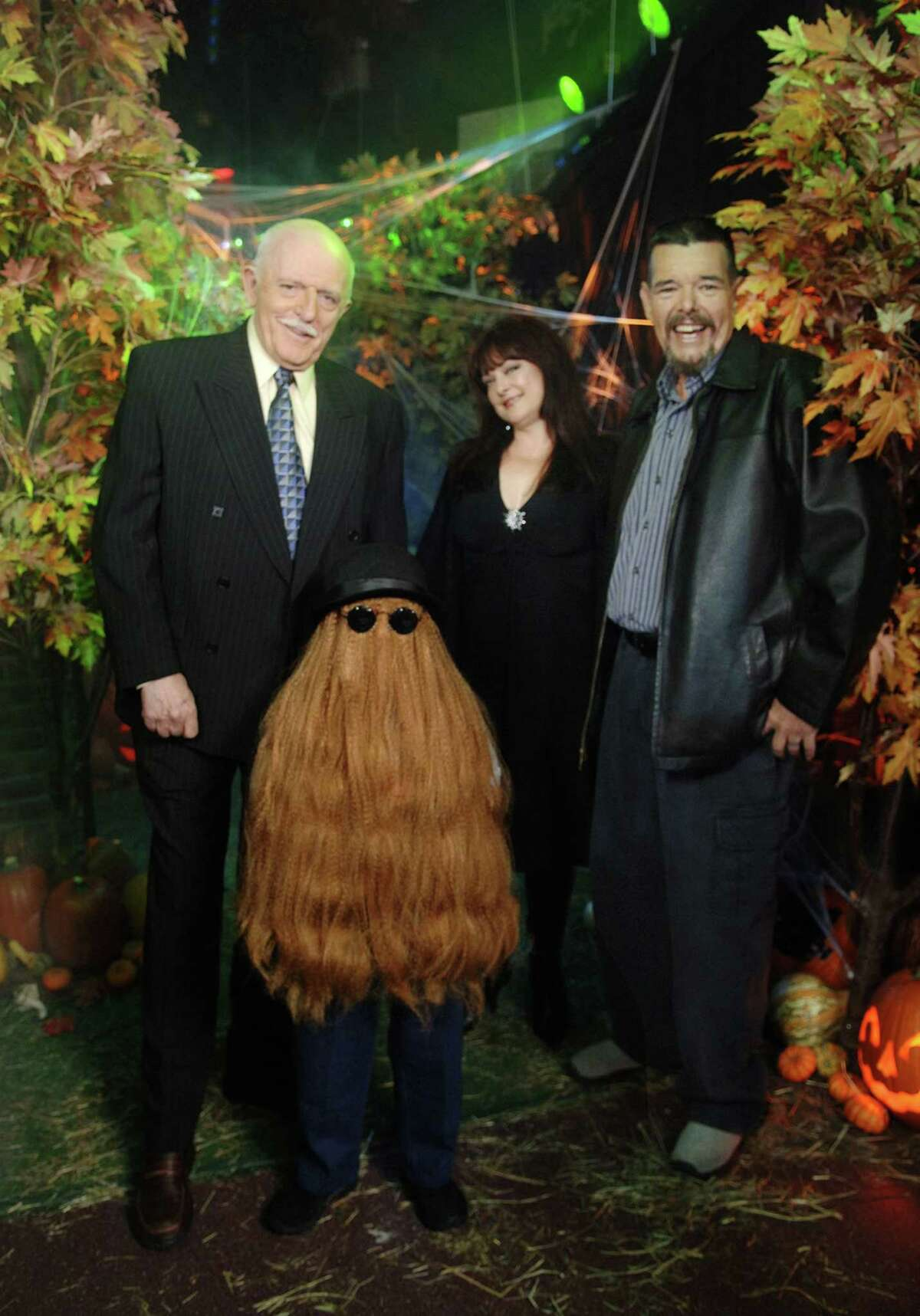 """This Oct. 31, 2006 photo provided by ABC, shows some of the original cast of the TV show, """"The Addams Family,"""" from left, John Astin, (Gomez Addams), Felix Silla, (Cousin Itt), Lisa Loring, (Wednesday Addams) and Ken Weatherwax, (Pugsley Addams), reunited at a special Halloween edition of ABC's """"Good Morning America"""" outside their Times Square studios in New York. Weatherwax, who played the child character Pugsley on """"The Addams Family"""" television series in the 1960s, has died. He was 59."""