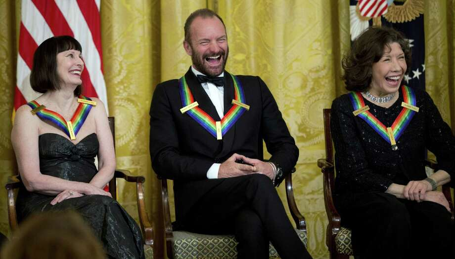 The Kennedy Center Honors Honorees ballerina Patricia McBride, from left, singer-songwriter Sting, and comedienne Lily Tomlin, laugh during a reception in their honor in the East Room of the White House in Washington on Dec. 7, 2014, hosted by President Barack Obama and first lady Michelle Obama. Photo: AP Photo/Manuel Balce Ceneta  / AP