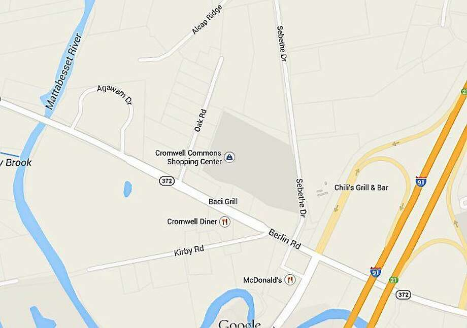 The proposed new building for Safe Home Security would be located across the street, on the east side of Sebethe, tucked behind the Courtyard Hartford Cromwell and adjacent to the southbound off-ramp from Interstate 91. Photo: Google Maps