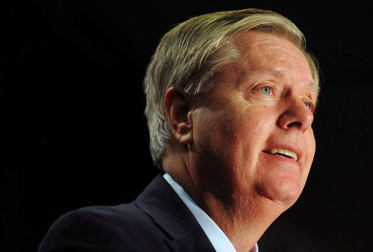 In this Nov. 4, 2014 photo, Sen. Lindsey Graham, R-S.C., speaks in Columbia, S.C.