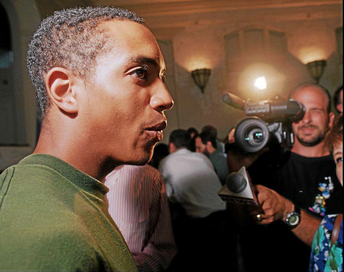 Milo Sheff speaks to the media at a news conference at Milner School in Hartford, Conn. on July 9, 1996. Sheff, 17, was the lead plaintiff in the case, which was filed when he was 10 years old.