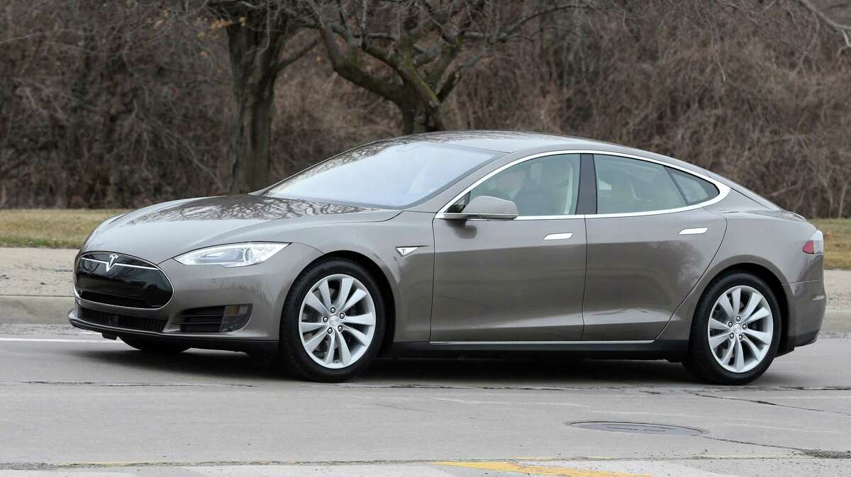 A Tesla Model S 70D is seen during a test drive in Detroit Tuesday.
