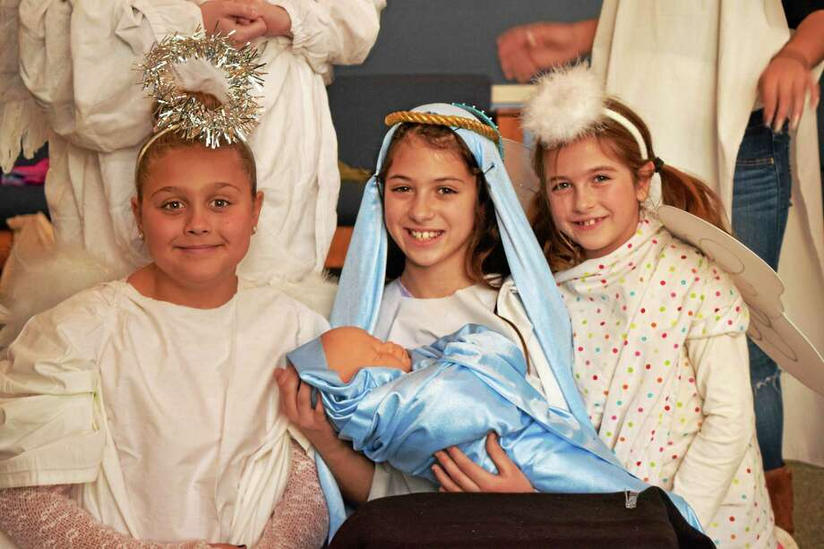 Contributed photoThe Best Christmas Pageant Ever will be presented by the Mad Hatters Theatre Company Dec. 18-19. Above are Lilah Spedding of Old Saybrook as Alice, Gabrielle Walker of Westbrook as Imogene Herdman and Tess Santarsiero of Old Saybrook as an angel. Photo: Journal Register Co.