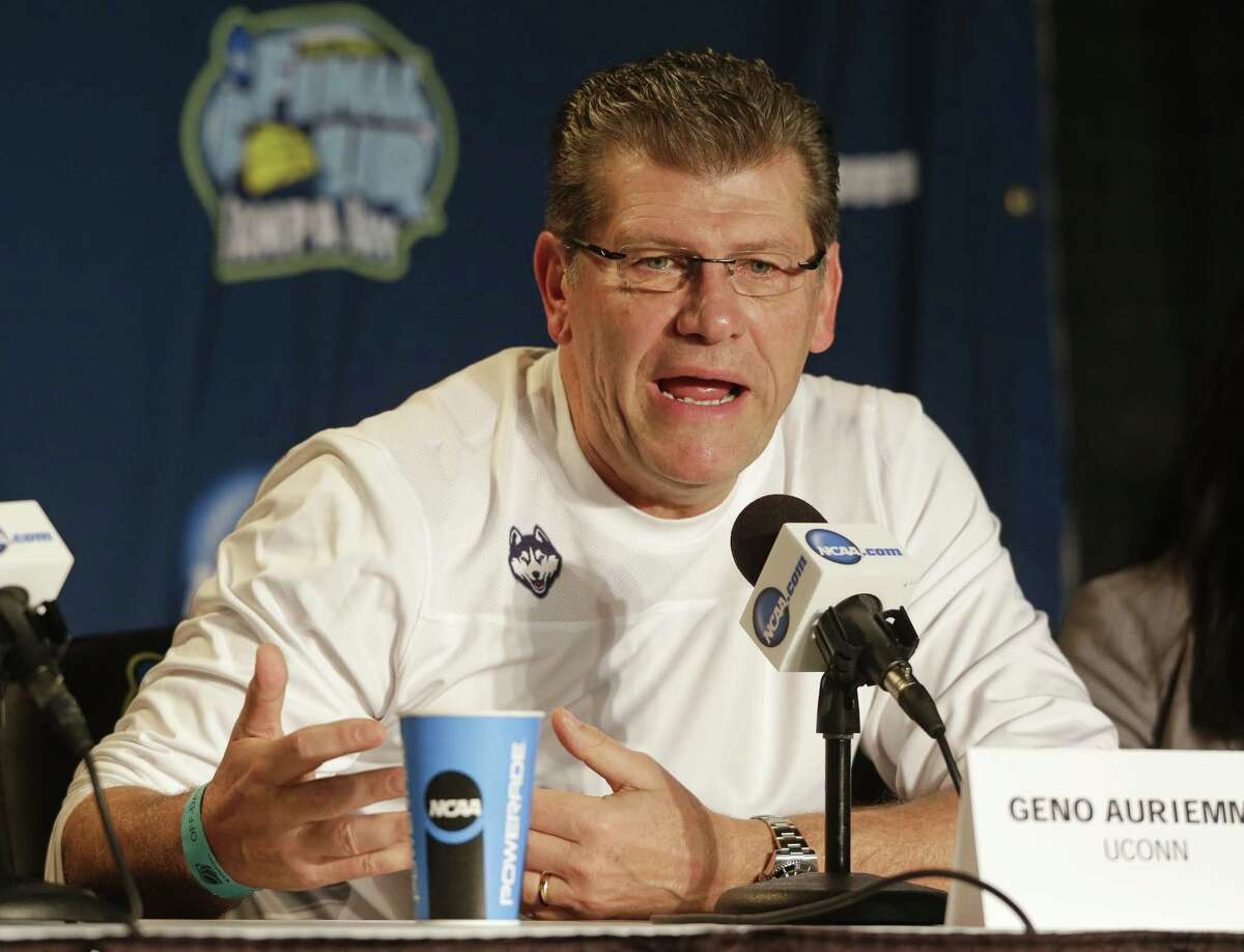 UConn head coach Geno Auriemma speaks during a news conference at the Final Four on Monday in Tampa, Fla.