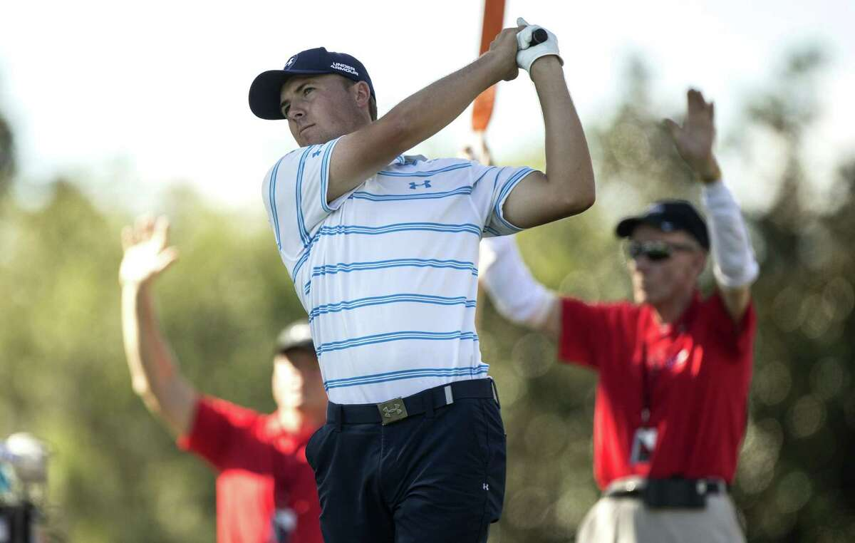 Jordan Spieth tees off on the second hole during the third round of the Hero World Challenge Saturday in Windermere, Fla.