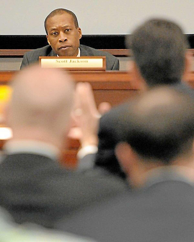 Peter Hvizdak/New Haven Register ¬ Hamden Mayor Scott Jackson, chairman of the Sandy Hook Advisory Commission.