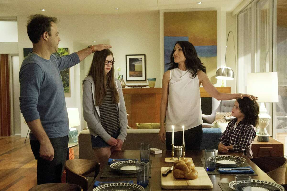 "Paul Adelstein, from left, Conner Dwelly, Lisa Edelstein, and Dylan Schombing in a scene from ""Girlfriends' Guide to Divorce,"" Bravo's first original scripted series."