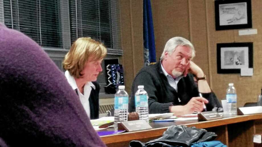 Middletown School Superintendent Pat Charles and Board of Education Secretary Ed McKeon at a past meeting. Photo: Middletown Press File Photo