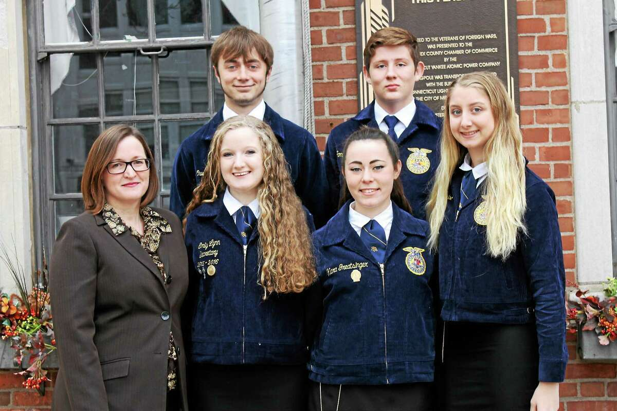 From left (top row) are Middletown High School FFA students Owen Andrew and Jonathan Rosenblum; and (bottom row) Rebecca Isaacson, Emily Lynn, Kara Greatsinger and Leianna Dolce.