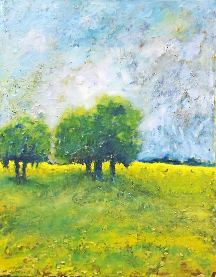 "Images courtesy of the artist ""Landscape with Five Trees,"" oil on linen, by Rosemary Cotnoir. Photo: Journal Register Co."