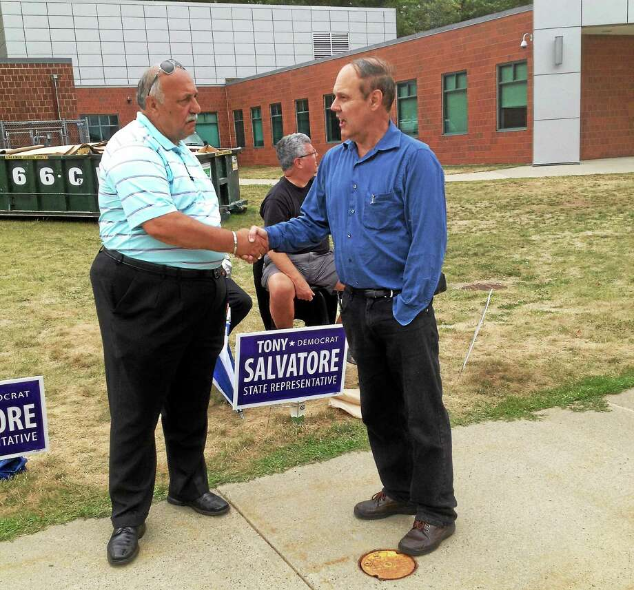 Cromwell Police Chief Anthony Salvatore greets voters on primary day. Photo: Jeff Mill - The Middletown Press