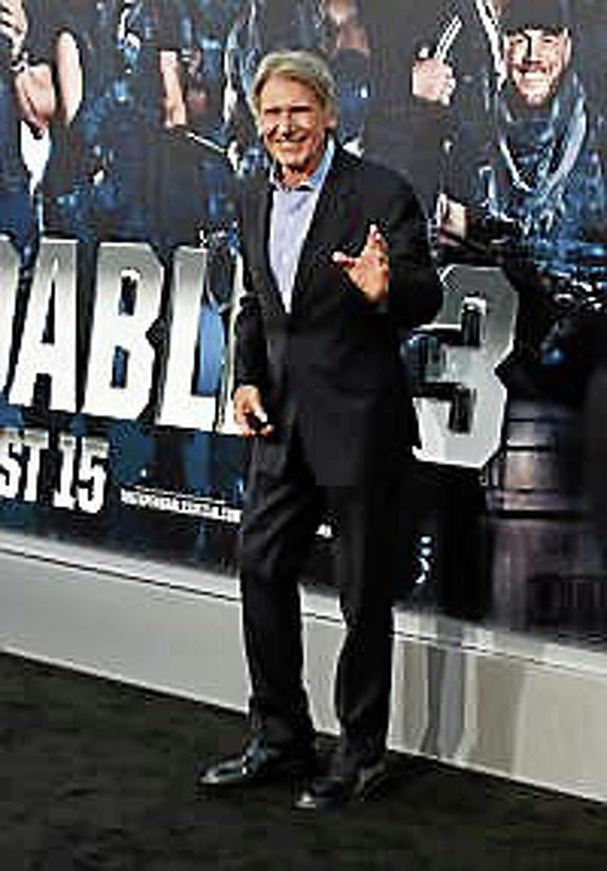 """Actor Harrison Ford attends Lionsgate Films' """"The Expendables 3"""" premiere at TCL Chinese Theatre on August 11, 2014, in Hollywood, California."""