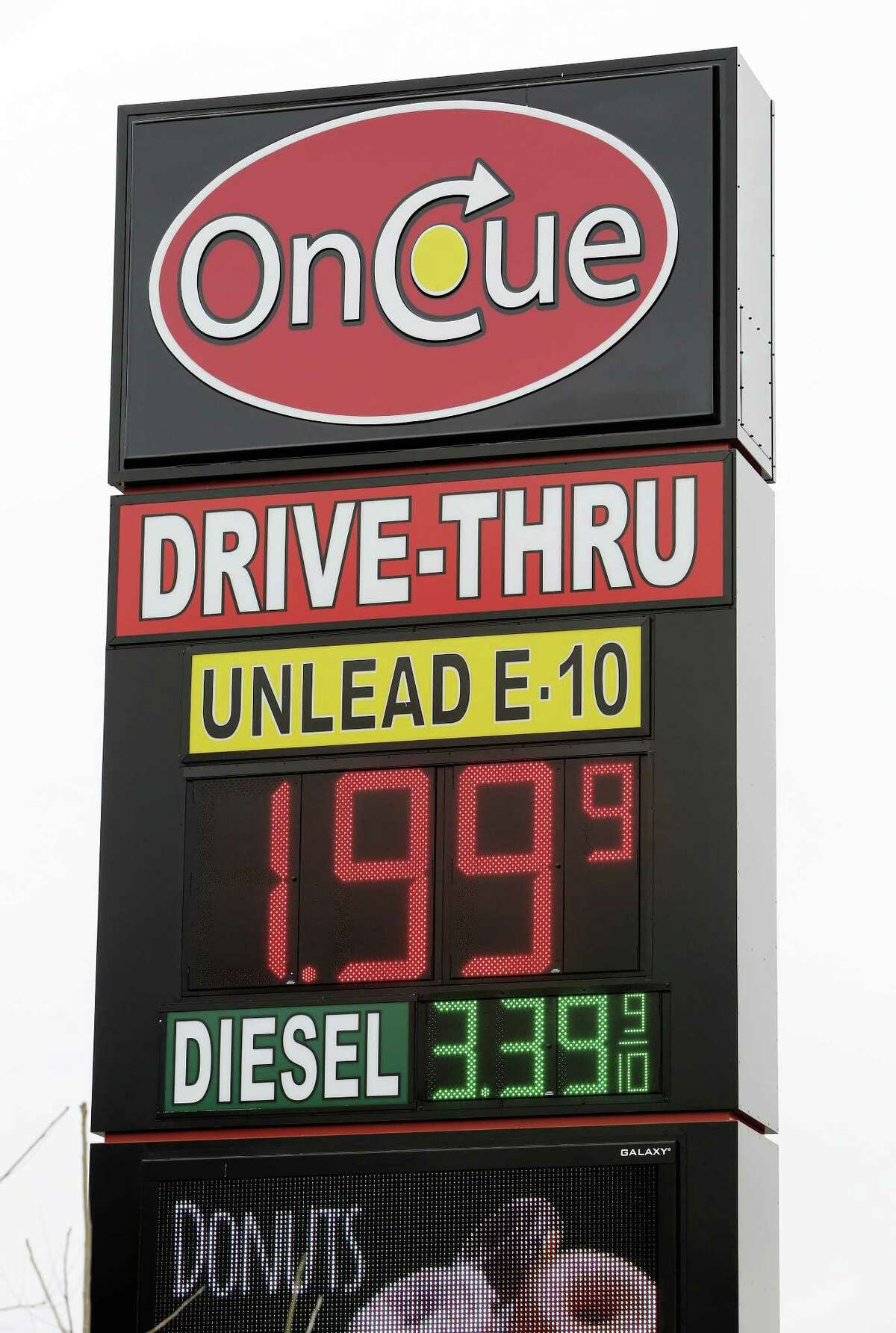 A sign displays the price for E-10 gasoline for $1.99 at the OnCue convenience store and gas station in Oklahoma City.