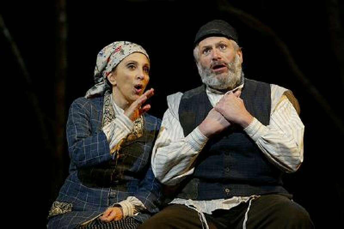 FILE - This 2005 file photo provided by Barlow-Hartman shows, Andrea Martin, left, as Golde and Harvey Fierstein as Tevye in the revival of