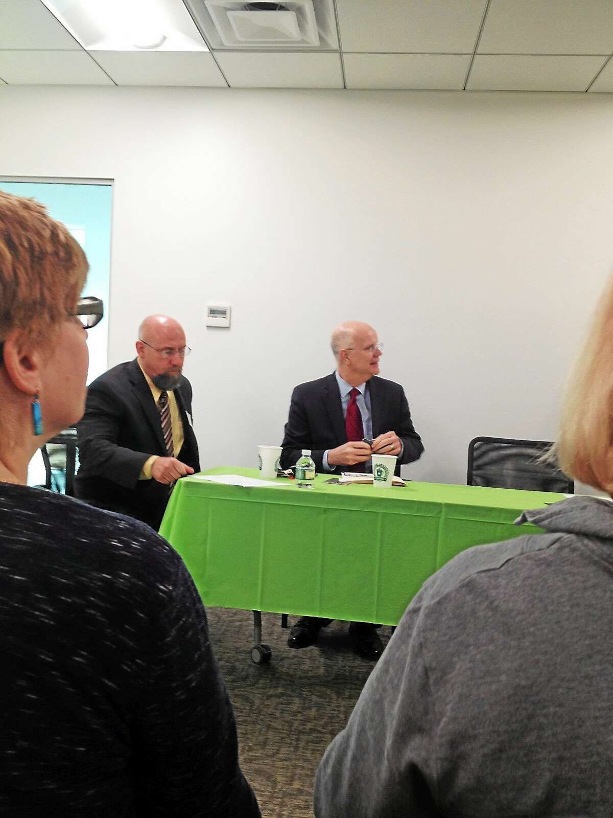 Connecticut State Comptroller Kevin Lembo, center, outlines his priorities for the year to members of the Middlesex County Chamber of Commerce in this March photo.