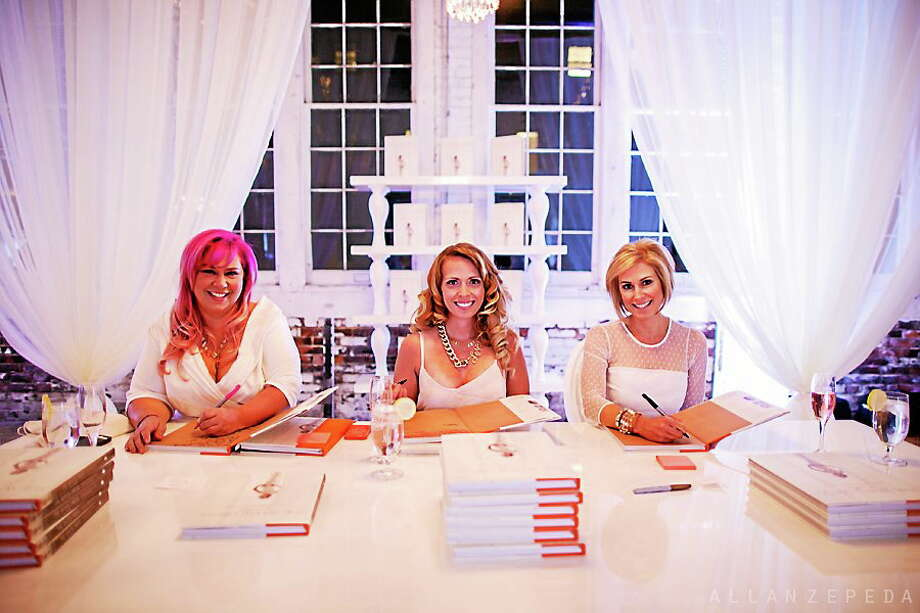 From left, Carla Ten Eyck, Candice Dowling Coppola and Beth Lindsay Chapman attend a book signing for their first bridal book collaboration, the White Dress in color. Photo: Allan Zepeda — Special To The Press