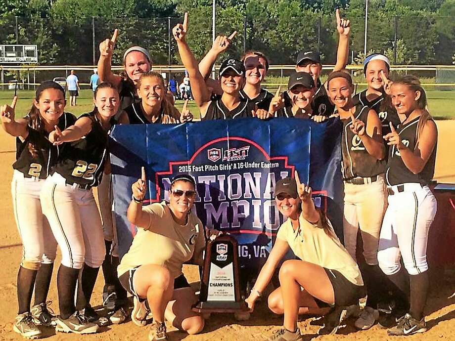 The Connecticut Outlaws 16U softball team celebrates after winning the ASA/USA National Championship in Sterling (Va.). The Outlaws, who are based in Middletown, feature six Middletown High players: Samantha Pizzonia, Kelsey White, Alex Giardina, Rachel Thompson, Brianna DiMartino, and Adrianna Spada. Photo: Photo Submitted By The Connecticut Outlaws