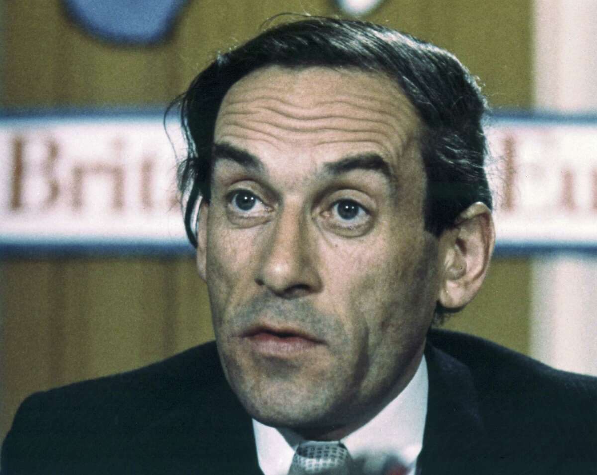 FILE - In this file photo dated 1975 portrait of Britain's Liberal Party leader Jeremy Thorpe. It is announced Thursday Dec. 4, 2014, that Thorpe has died aged 85. Tributes have been paid to former Liberal Party leader Thorpe, who fought for investment in his beloved North Devon area of England, and against apartheid in South Africa, but his political career was ended by a court case and alleged homosexual relationship, which was illegal at the time. (AP Photo/Lawrence Harris, FILE)