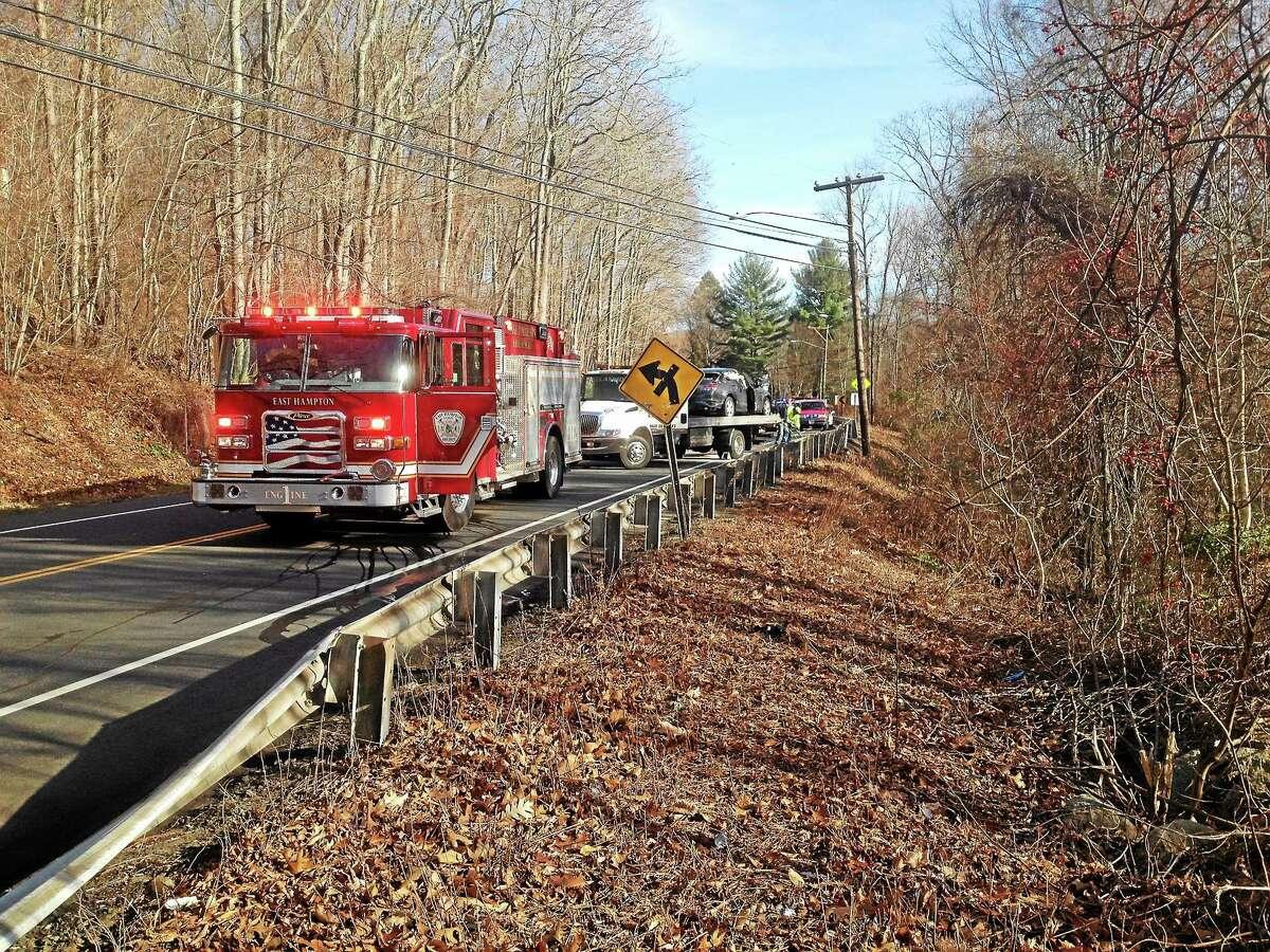 The scene of a head-on crash Thursday in East Hampton