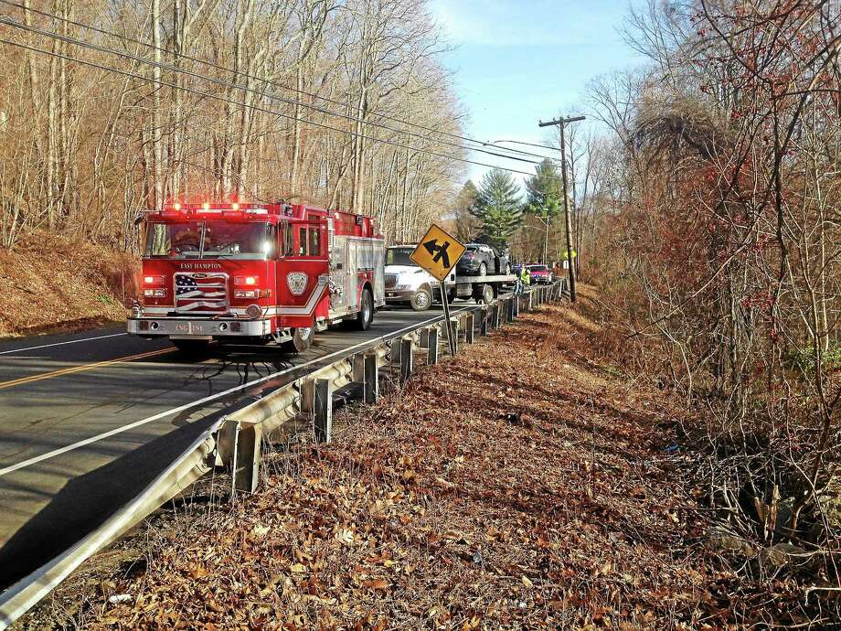 The scene of a head-on crash Thursday in East Hampton Photo: Jeff Mill — The Middletown Press