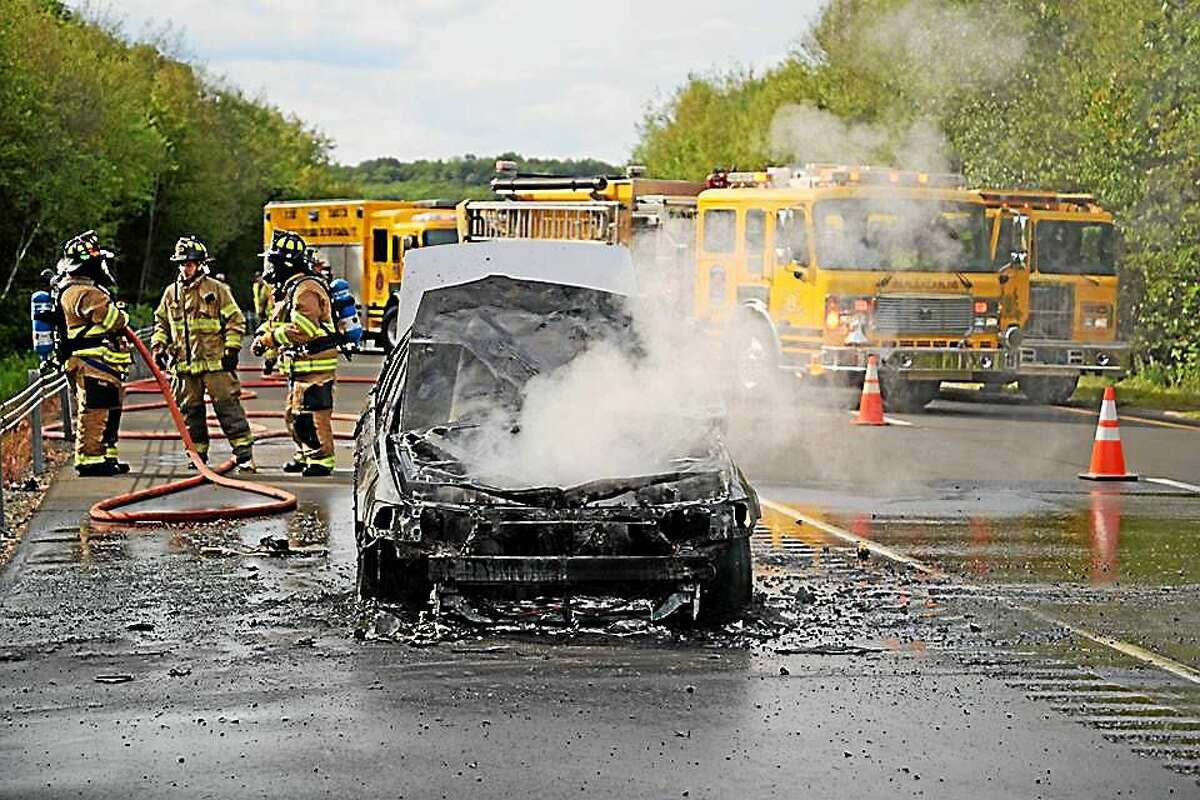 A car driving on Route 9 on Thursday was a total loss after a fire on Route 9 in Haddam.