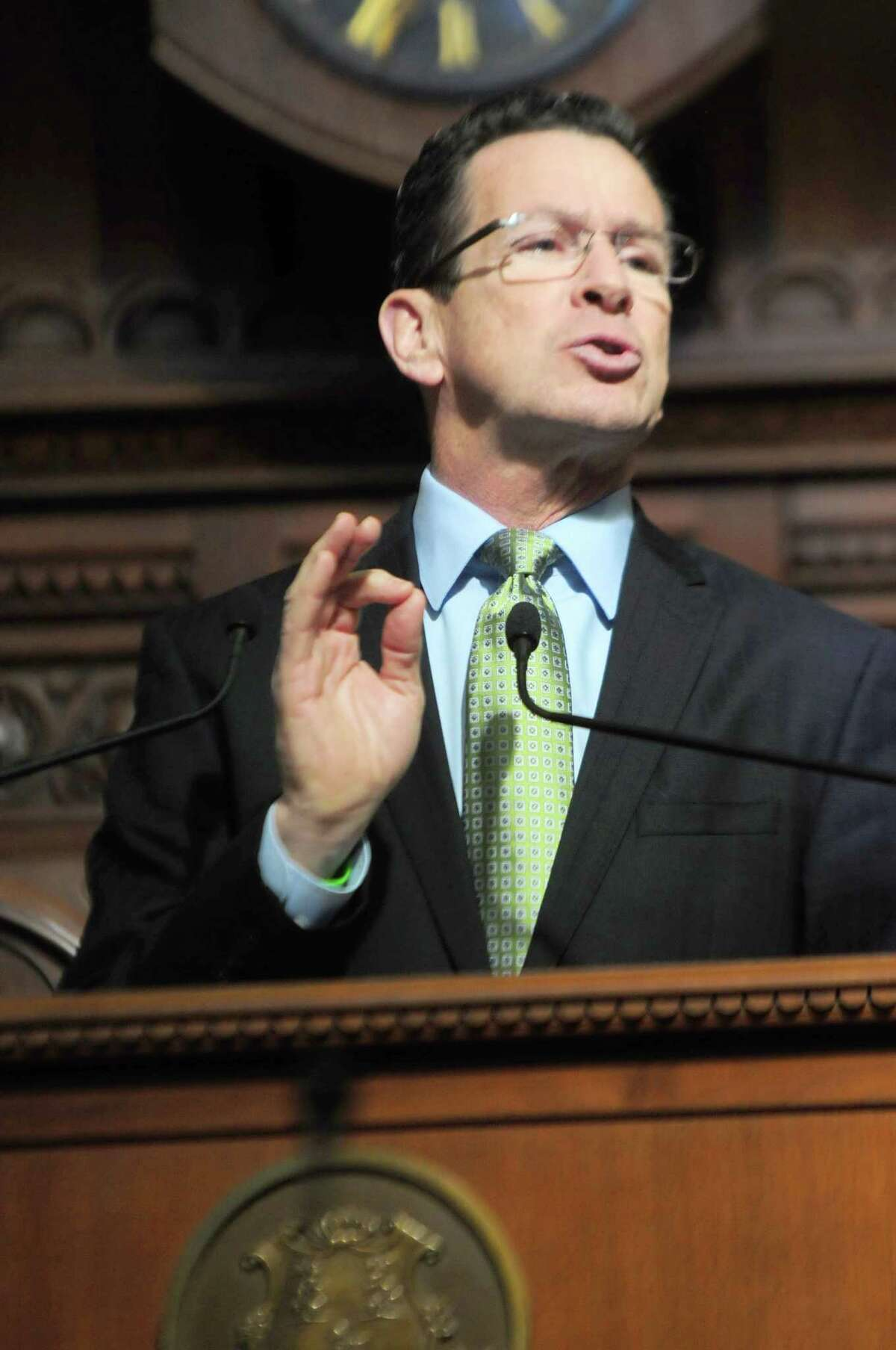 (Photo by Peter Hvizdak ó New Haven Register) ¬ Governor Dannell P. Malloy gives his annual State of the State Address to a joint session of the Connecticut General Assembly Thursday February 6, 2014 in the Hall of the House of Representatives in Hartford. ¬
