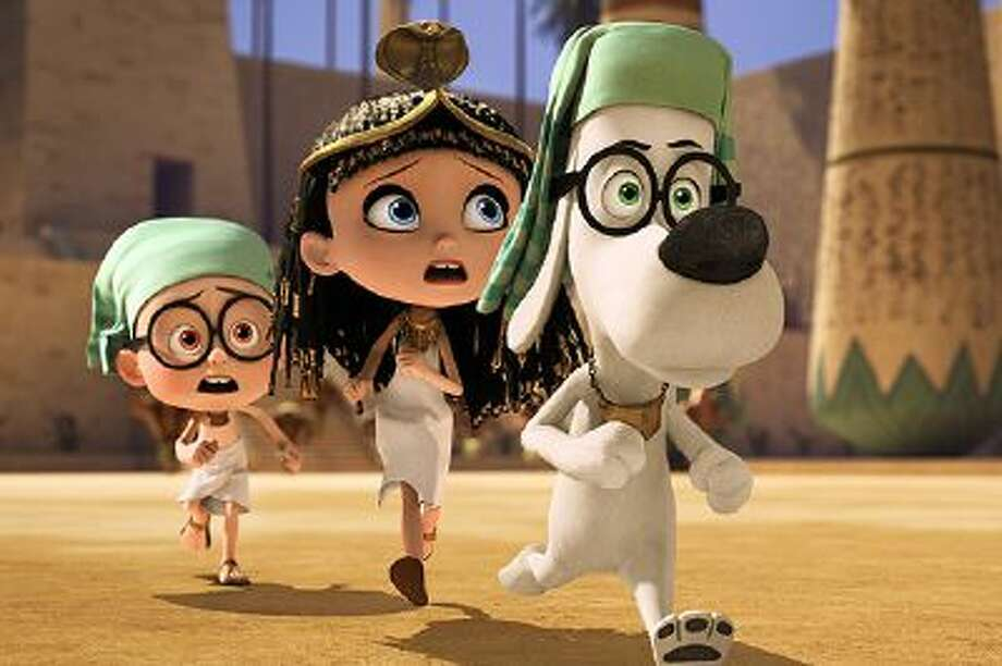 """This image released by DreamWorks Animation shows Sherman, voiced by Max Charles, from left, Penny, voiced by Ariel Winter, and Mr. Peabody, voiced by Ty Burell, in a scene from """"Mr Peabody & Sherman."""" (AP Photo/ DreamWorks Animation) Photo: AP / DreamWorks Animation"""