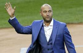 FILE - In this May 14, 2017, file photo, former New York Yankees player Derek Jeter waves to fans during a ceremony retiring his number at Yankee Stadium in New York. The Miami Marlins signed an agreement to sell the team to a group featuring Derek Jeter, a person familiar with the deal said Saturday, Aug. 12, 2017. (AP Photo/Seth Wenig, File)