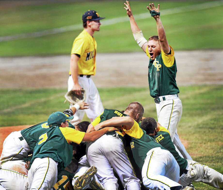 (Melanie Stengel - Register)  American Legion Northeast Regional Final 8/11. RCP celebrates defeating Milford, Mass. Photo: Journal Register Co.