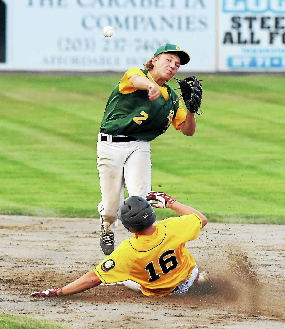 RCP's Cory Baldwin forces Milford's Blake Hill out at second base during the finals.