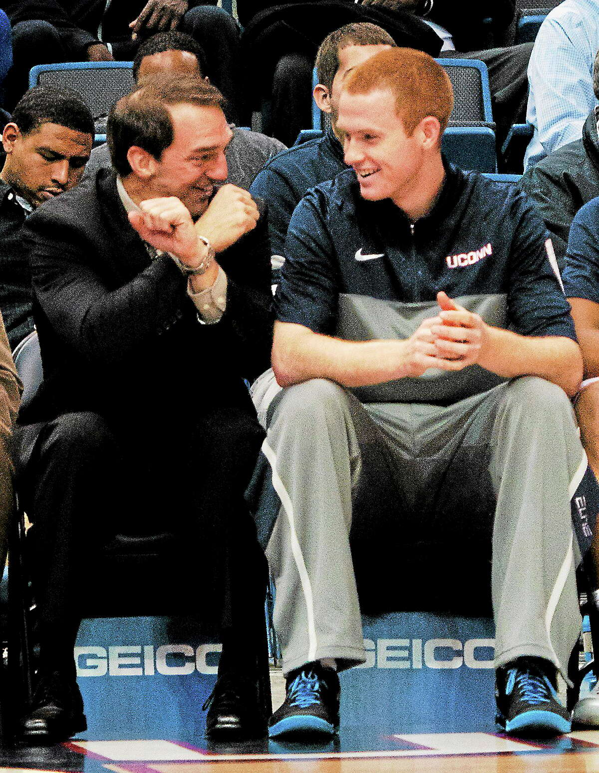 (Melanie Stengel — New Haven Register) Pat Lenehan (R) from Cheshire is now playing for UCONN 11/11.