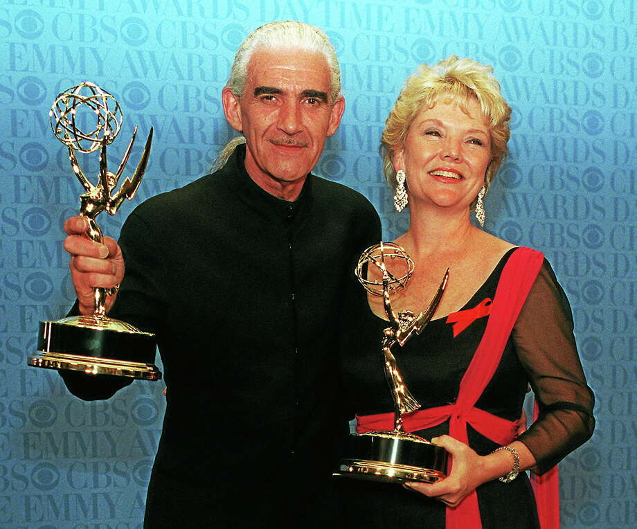 "Charles Keating, left, and Erika Slezak pose with their Emmys during the 23rd Annual Daytime Emmy Awards in New York on May 22, 1996. Slezak won the Outstanding Lead Actress In a Drama Series for her role in ""One Life To Live,"" and Keating won Outstanding Lead Actor in a Drama Series for his role in ""Another World."" Photo: AP Photo/Joe Tabacca  / AP1996"