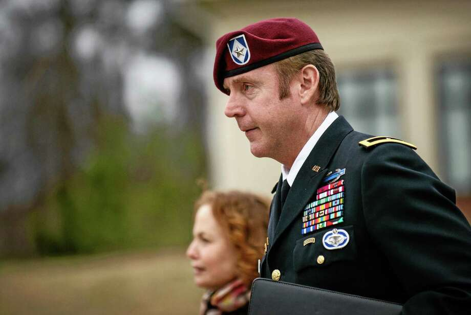 Brig. Gen. Jeffrey Sinclair leaves the courthouse following a day of motions, Tuesday, March 4, 2014, at Fort Bragg, N.C. Less than a month before Sinclair's trial on sexual assault charges, the lead prosecutor broke down in tears Tuesday as he told a superior he believed the primary accuser in the case had lied under oath. (AP Photo/The Fayetteville Observer, James Robinson) Photo: AP / The Fayetteville Observer