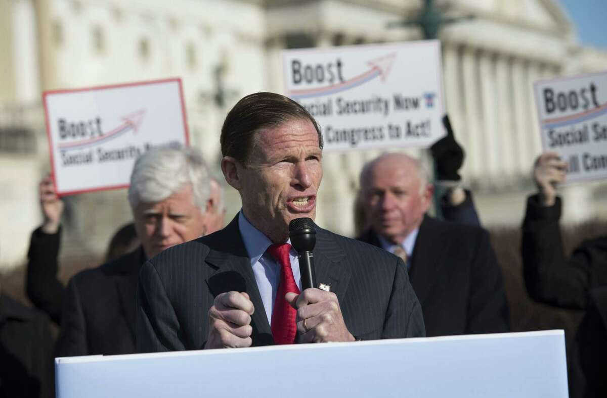 In this March file photo, U.S. Sen. Richard Blumenthal, D-Conn., speaks during a news conference on Capitol Hill in Washington.