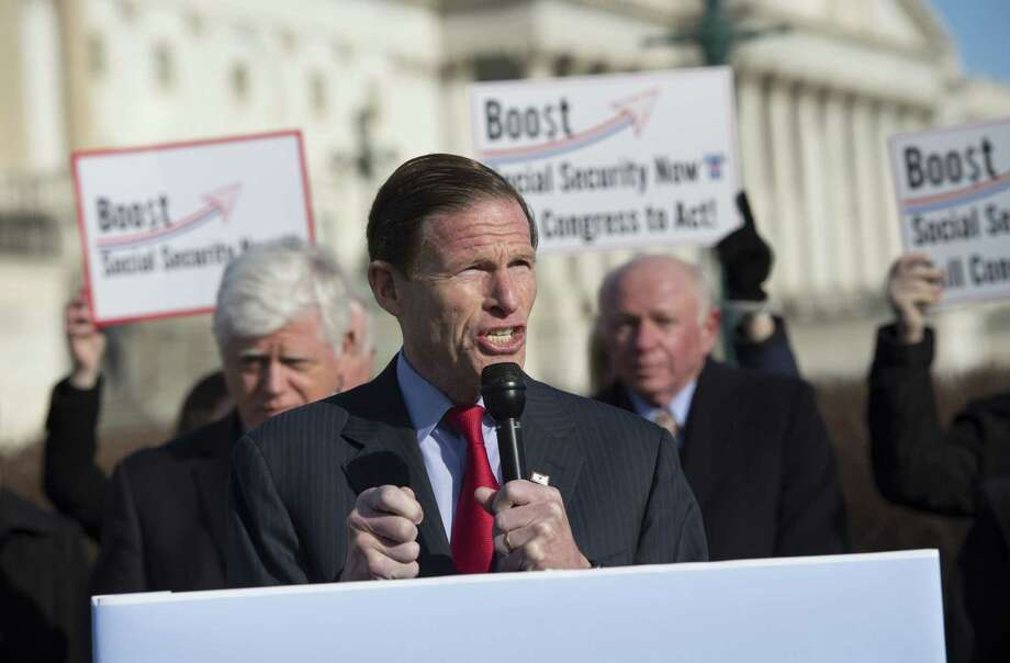In this March file photo, U.S. Sen. Richard Blumenthal, D-Conn., speaks during a news conference on Capitol Hill in Washington. Photo: Associated Press  / FR170882 AP
