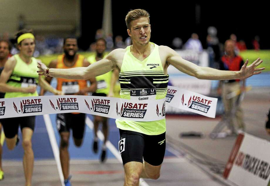 Casimir Loxsom wins the men's 600-meter run during the U.S. indoor track and field championships in Boston on March 1. Photo: Michael Dwyer — The Associated Press File Photo  / AP