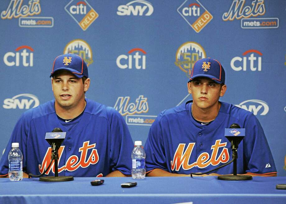 The New York Mets drafted Gavin Cecchini (first round), right, and Kevin Plawecki (compensation round) in June 2012. Photo: Frank Franklin II — The Associated Press File Photo  / AP