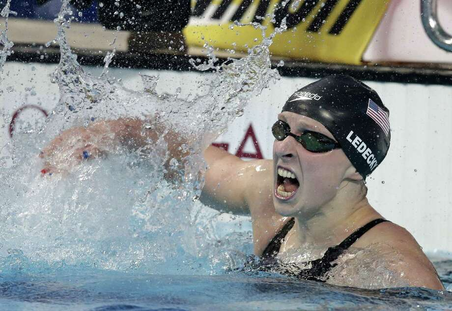 United States swimmer Katie Ledecky celebrates after winning the women's 800-meter freestyle final Saturday at the Swimming World Championships in Kazan, Russia. Photo: Michael Sohn — The Associated Press  / AP