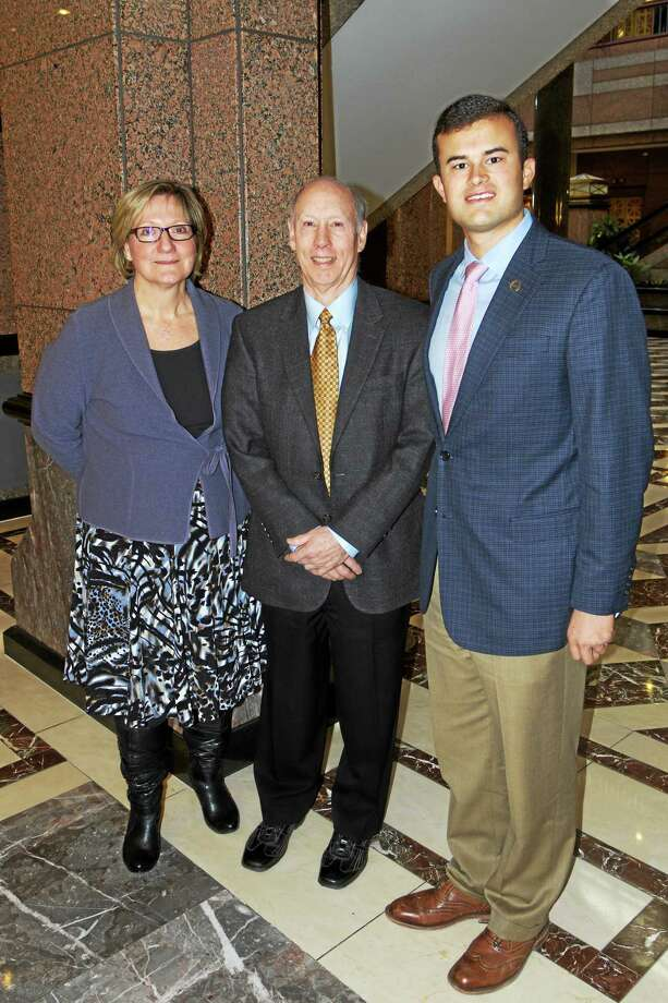 Submitted photo.  From left to right: Haddam Historical Society member Emily Smith, Board Co-President Terry Smith and Sen. Art Linares at the State Capital building Thursday in Hartford. Photo: Journal Register Co. / All Rights Reserved
