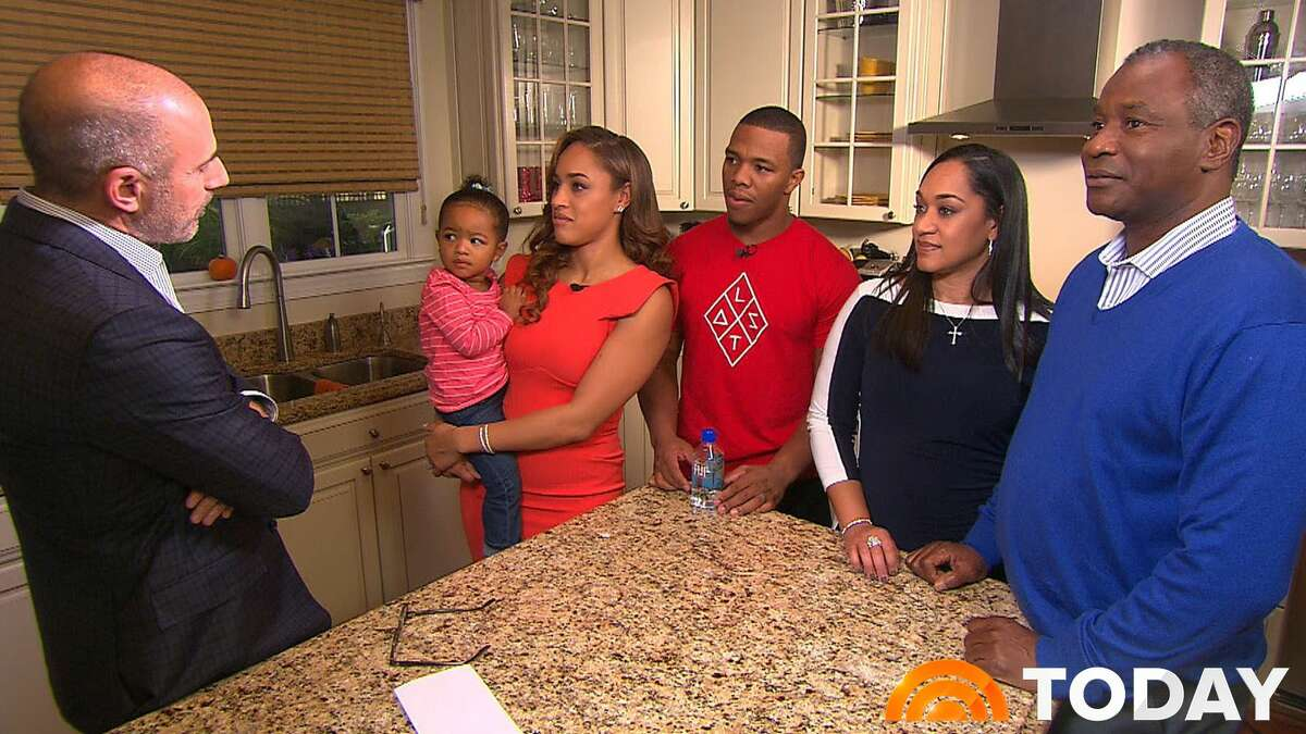 """In this image from video provided by The Today Show, host Matt Lauer, left, interviews Janay Rice, holding daughter Rayven, and Ray Rice. Joining them are Janay's parents, Candy and Joe Palmer, right. Janay Rice says NFL Commissioner Roger Goodell wasn't being honest when he said Ray Rice was """"ambiguous"""" about hitting her in a casino elevator."""