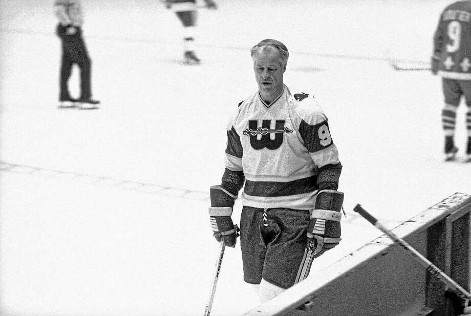 Hockey Hall of Famer Gordie Howe, here playing for the New England Whalers in a World Hockey Association game in Hartford on Nov. 19, 1977, suffered his third stroke in three months on Monday. Photo: Bob Child — The Associated Press File Photo  / AP1977