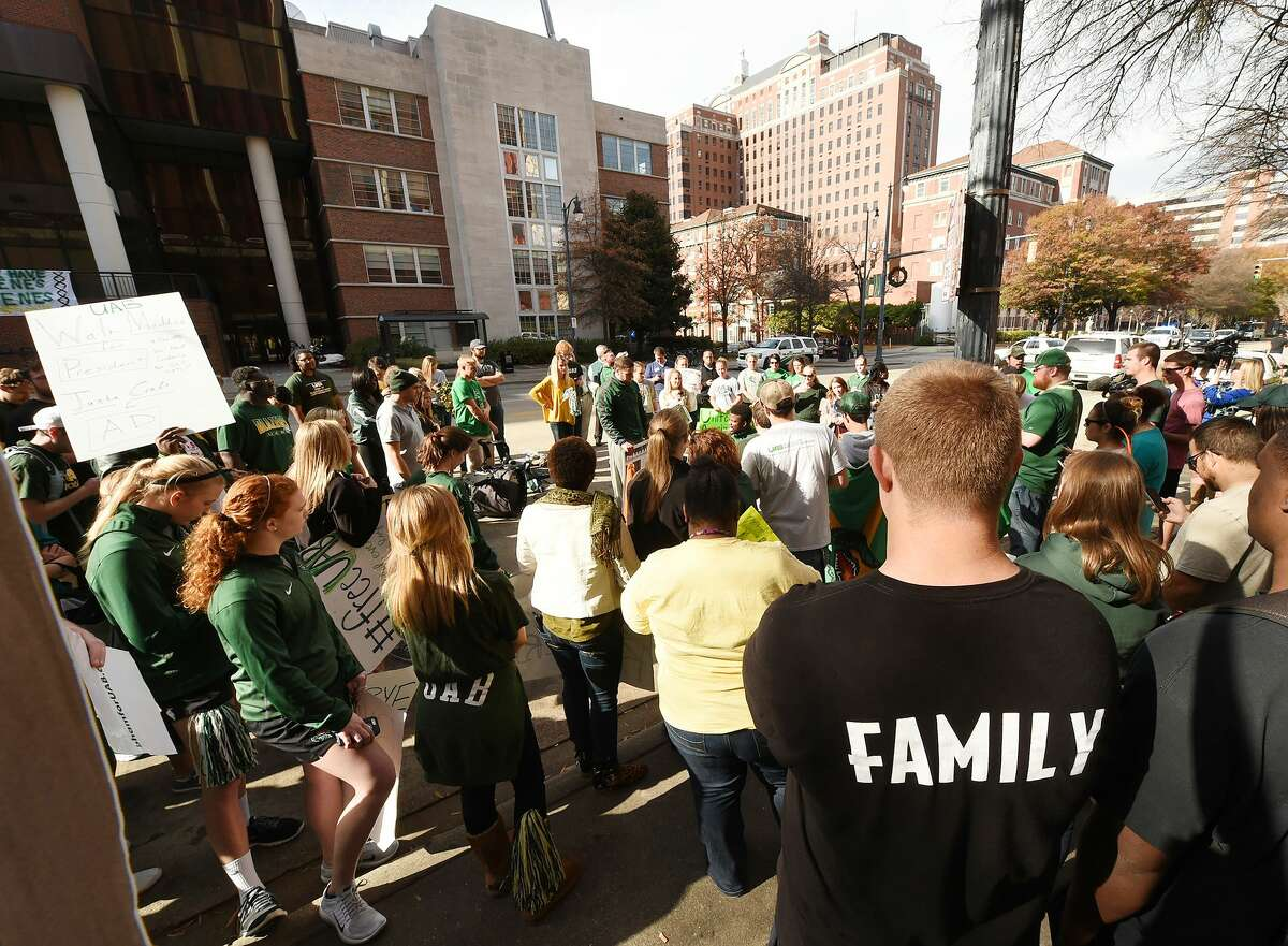 University of Alabama at Birmingham students rally in front of the UAB Administration building on Tuesday to try and save the UAB football program. It was the third day of protests.